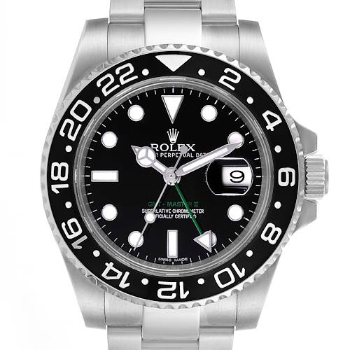 Rolex GMT Master II Black Dial Steel Mens Watch 116710