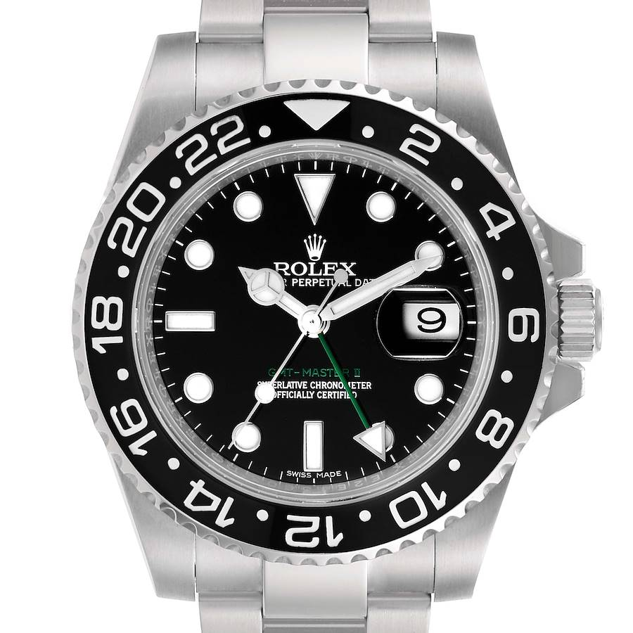 Rolex GMT Master II Black Dial Steel Mens Watch 116710 Box Papers SwissWatchExpo