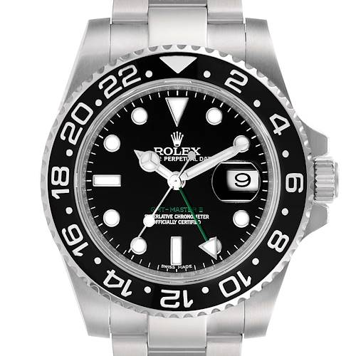 Photo of Rolex GMT Master II Black Dial Steel Mens Watch 116710 Box Papers