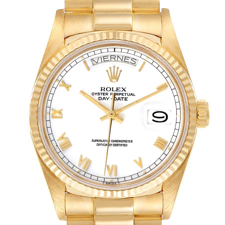 Rolex President Day-Date 36 White Dial Yellow Gold Mens Watch 18038 SwissWatchExpo