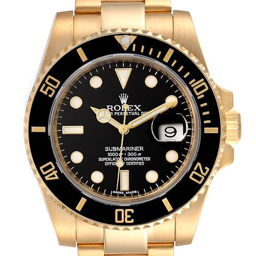 Photo of Rolex Submariner Black Dial Yellow Gold Mens Watch 116618 Box Card