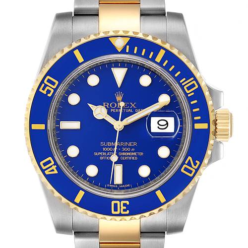 Photo of Rolex Submariner Steel 18K Yellow Gold Blue Dial Mens Watch 116613