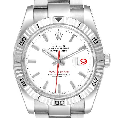 Rolex Turnograph Steel White Gold Bezel White Dial Mens Watch 116264