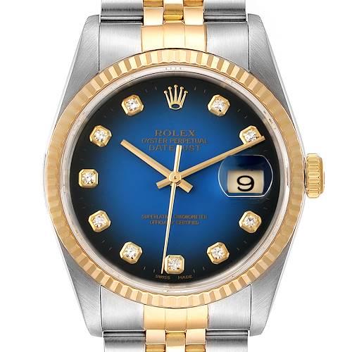 Photo of Rolex Datejust Steel Yellow Gold Vignette Diamond Dial Mens Watch 16233