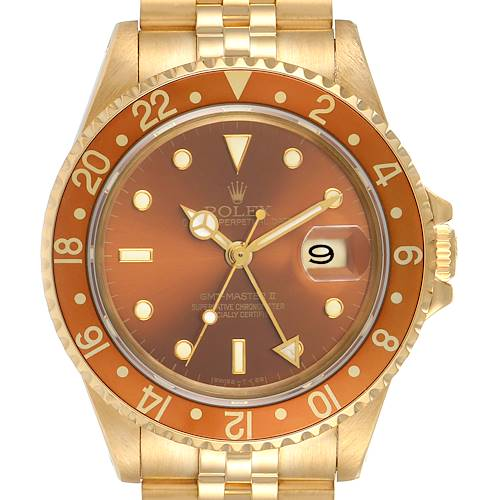Photo of Rolex GMT Master Rootbeer 18K Yellow Gold Vintage Mens Watch 16718