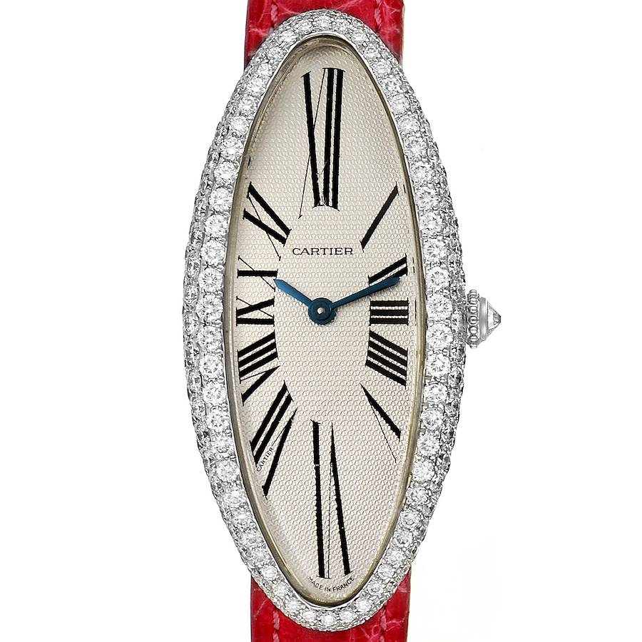 Cartier Baignoire Allongee White Gold Diamond Ladies Watch WB510931 SwissWatchExpo