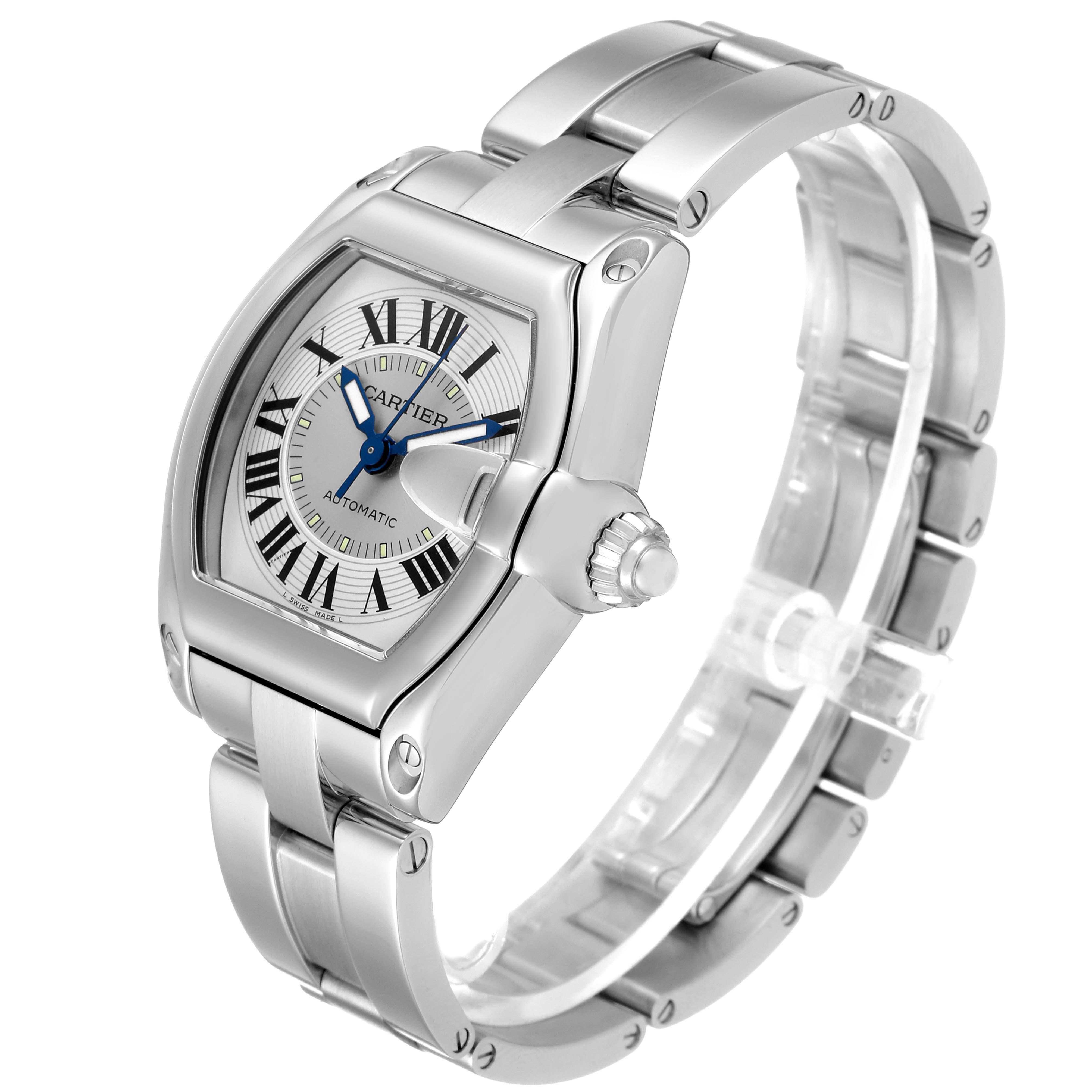 Cartier Roadster Silver Roman Dial Steel Mens Watch W62000V3 SwissWatchExpo