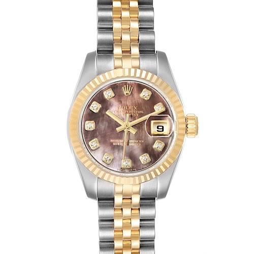 Photo of Rolex Datejust Steel Yellow Gold MOP Diamond Ladies Watch 179173 Box Tag