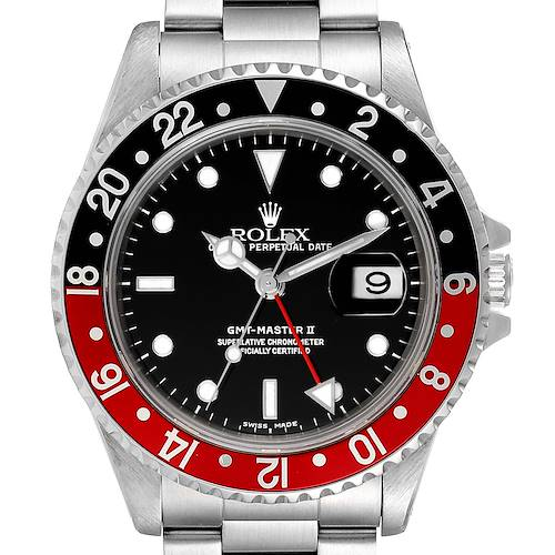 Photo of Rolex GMT Master II Black Red Coke Bezel Mens Watch 16710