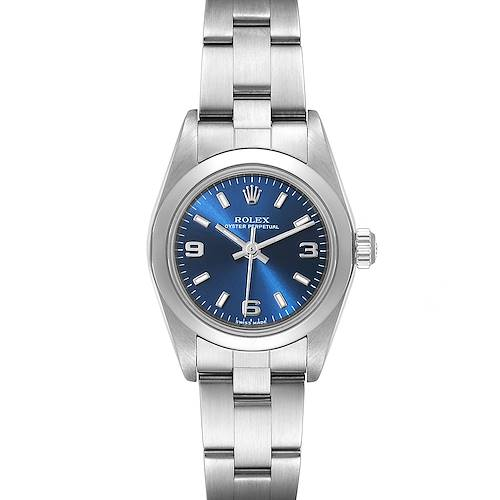 Photo of Rolex Oyster Perpetual 24 Nondate Blue Dial Ladies Watch 76080
