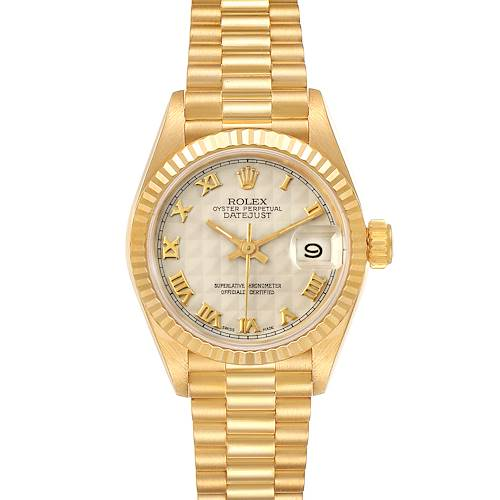 Photo of Rolex President Datejust 18K Yellow Gold Pyramid Ladies Watch 69178