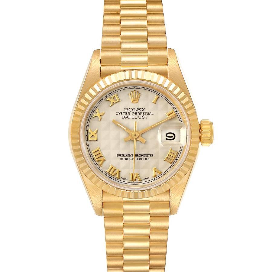Rolex President Datejust 18K Yellow Gold Pyramid Ladies Watch 69178 SwissWatchExpo