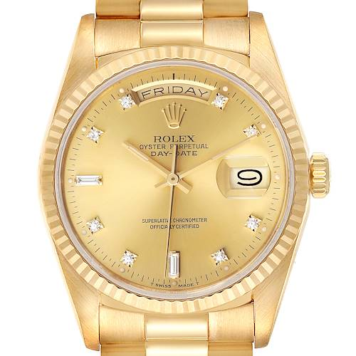Photo of Rolex President Day-Date Yellow Gold Diamond Dial Mens Watch 18238