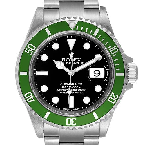 Photo of Rolex Submariner Flat 4 Green 50th Anniversary Watch 16610LV Box Papers
