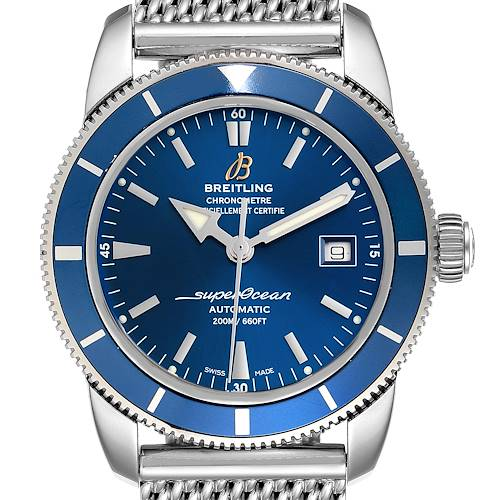 Photo of Breitling Superocean Heritage 42 Mesh Bracelet Watch A17321 Box and Papers