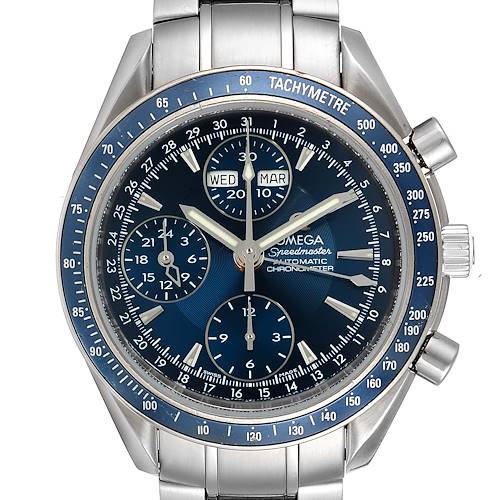 Photo of Omega Speedmaster Day Date Blue Dial Chronograph Watch 3222.80.00 Box Papers