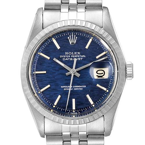Photo of Rolex Datejust Blue Brick Dial Steel Vintage Mens Watch 1603