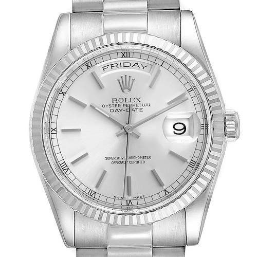 Photo of Rolex Day Date 36mm President White Gold Silver Dial Mens Watch 118239