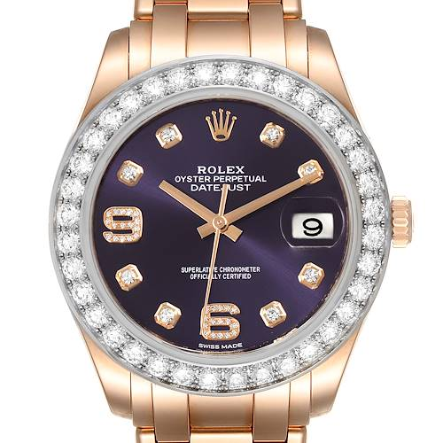 Photo of Rolex Pearlmaster 39 18k Rose Gold Diamond Mens Watch 86285 Box Card