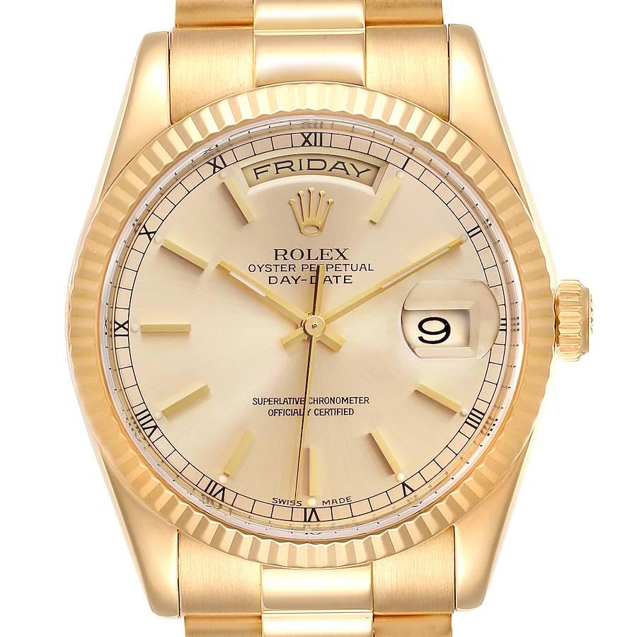 Rolex President Day Date 36mm Yellow Gold Mens Watch 118238 SwissWatchExpo