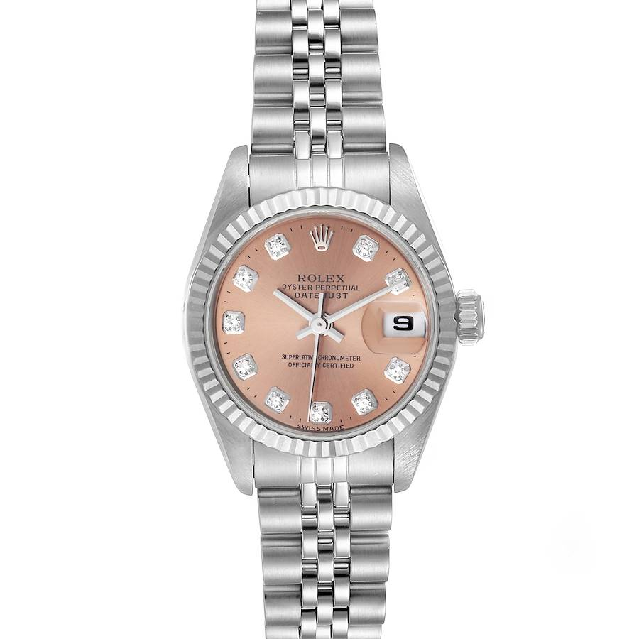 Rolex Datejust Ladies Steel White Gold Salmon Diamond Dial Watch 69174 SwissWatchExpo