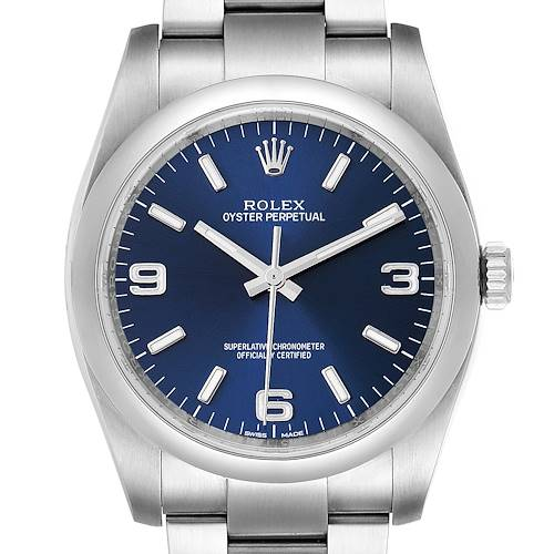 Photo of Rolex Oyster Perpetual Blue Dial Steel Mens Watch 116000 Box Papers