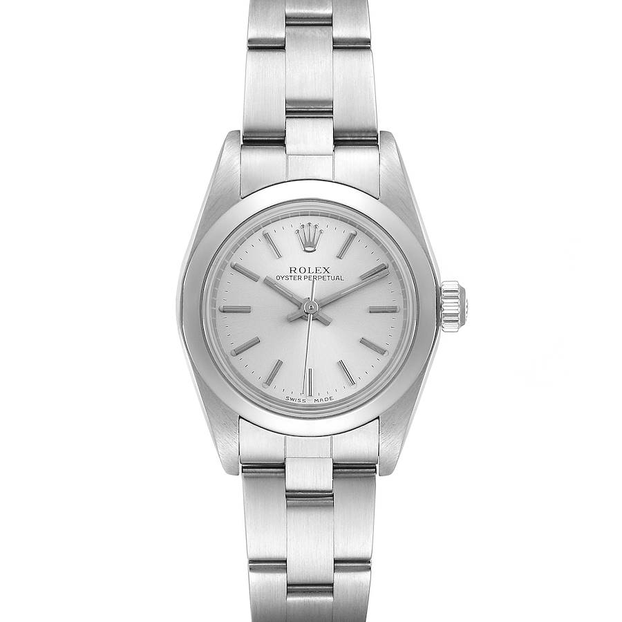 Rolex Oyster Perpetual Silver Dial Steel Ladies Watch 76080 SwissWatchExpo