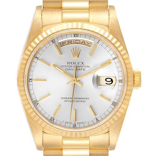 Photo of Rolex President Day-Date Silver Dial Yellow Gold Mens Watch 18238