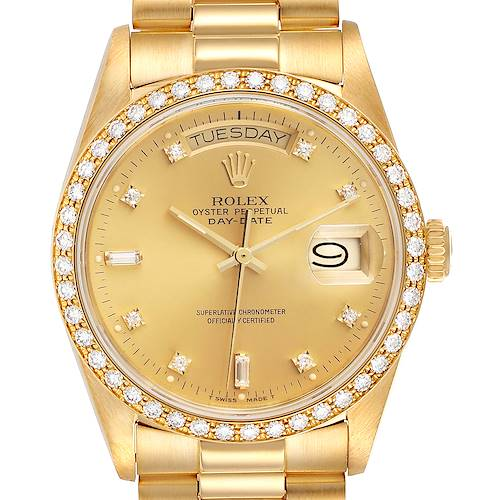 Photo of Rolex President Day-Date Yellow Gold Diamond Bezel Watch 18048
