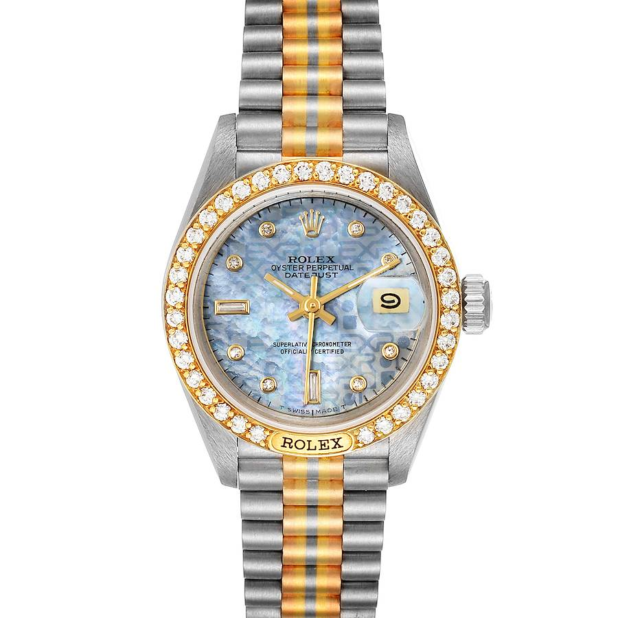 Rolex President Tridor White Yellow Rose Gold Diamond Ladies Watch 69149 SwissWatchExpo