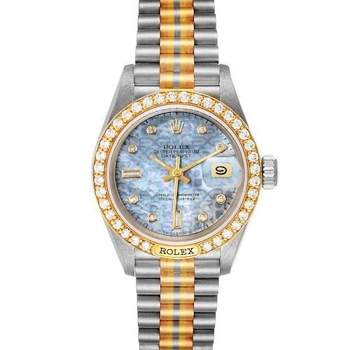 Photo of Rolex President Tridor White Yellow Rose Gold Diamond Ladies Watch 69149