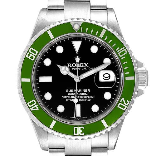 Photo of Rolex Submariner Green 50th Anniversary Mens Watch 16610LV Box Papers