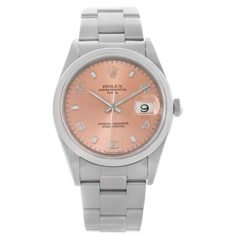 Rolex Date Stainless Steel Oyster Bracelet Black Dial Mens Watch 15200 SwissWatchExpo