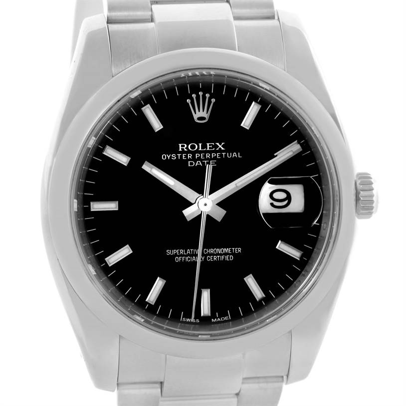 Rolex Date Black Dial Oyster Bracelet Steel Mens Watch 115200 Box SwissWatchExpo