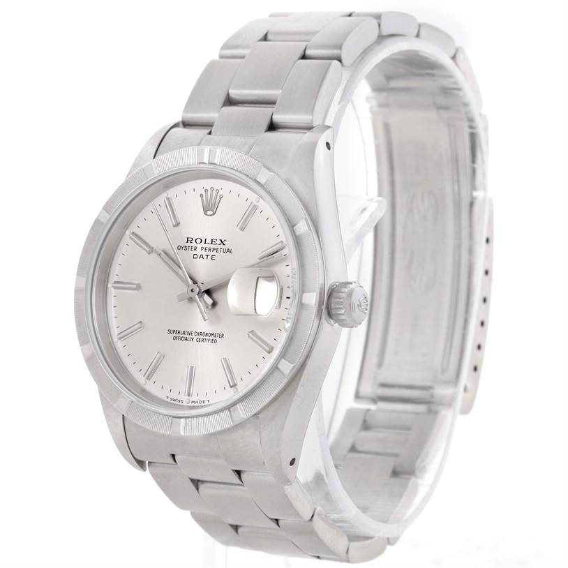 10608 Rolex Date Stainless Steel Silver Dial Mens Watch 15210 SwissWatchExpo
