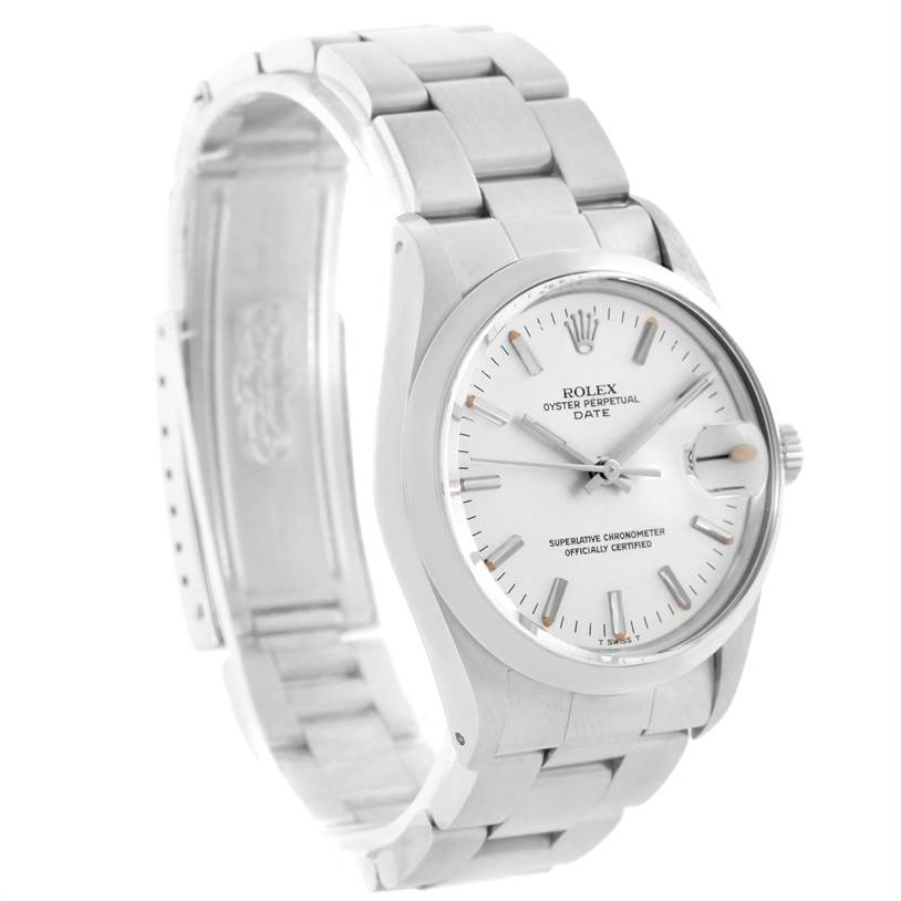 11452 Rolex Date Stainless Steel Silver Dial Vintage Mens Watch 15000 SwissWatchExpo