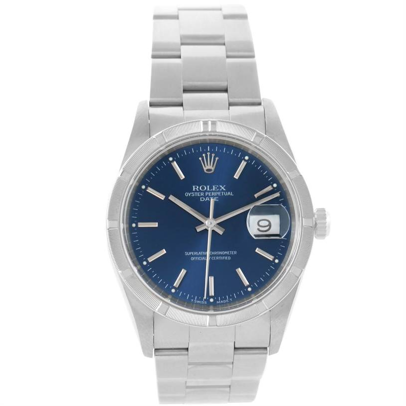 Rolex Date Stainless Steel Blue Baton Dial Mens Watch 15210 Box Papers SwissWatchExpo