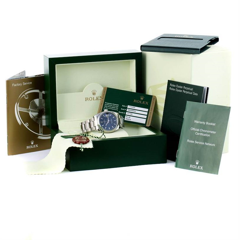 Rolex Date Stainless Steel Blue Dial Mens Watch 115200 Box Papers SwissWatchExpo