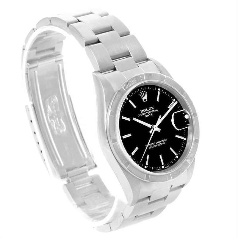 Rolex Date Stainless Steel Black Dial Mens Watch 15210 Box Papers SwissWatchExpo