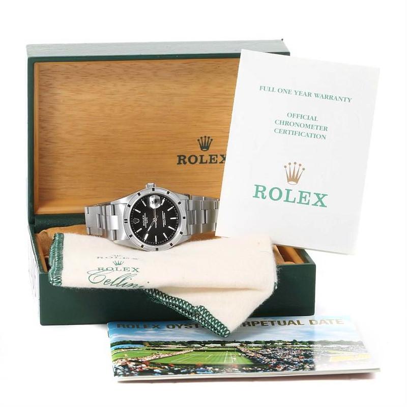 Rolex Date Steel Black Dial Oyster Bracelet Mens Watch 15210 Box Paper SwissWatchExpo