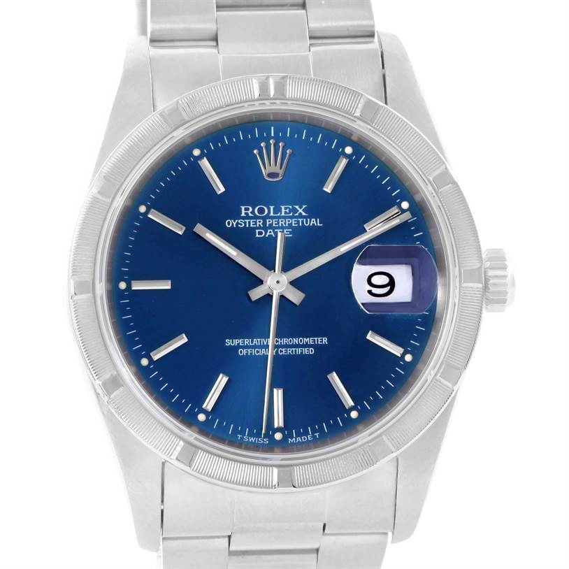 Rolex Date Stainless Steel Blue Dial Oyster Bracelet Mens Watch 15210 SwissWatchExpo