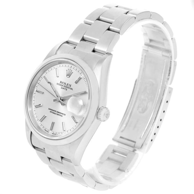Rolex Date Silver Dial Oyster Bracelet Steel Automatic Watch 15200 SwissWatchExpo