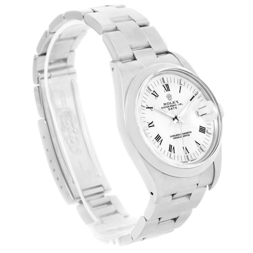 Rolex Date Stainless Steel White Dial Vintage Mens Watch 15000 SwissWatchExpo
