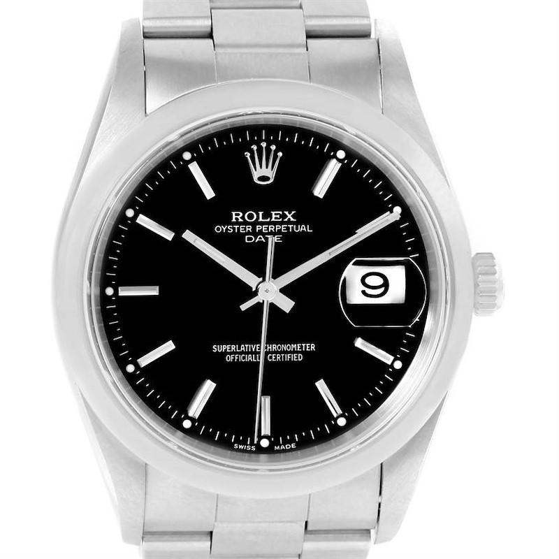 Rolex Date Black Dial Oyster Bracelet Steel Automatic Watch 15200 SwissWatchExpo