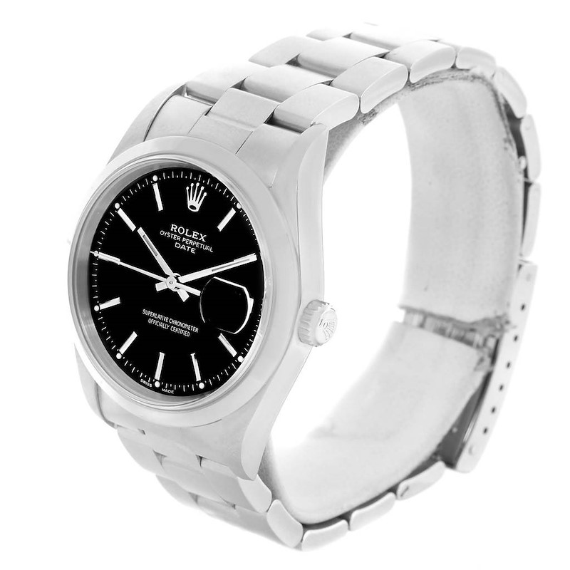 Rolex Date Black Baton Dial Domed Bezel Steel Mens Watch 15200 SwissWatchExpo