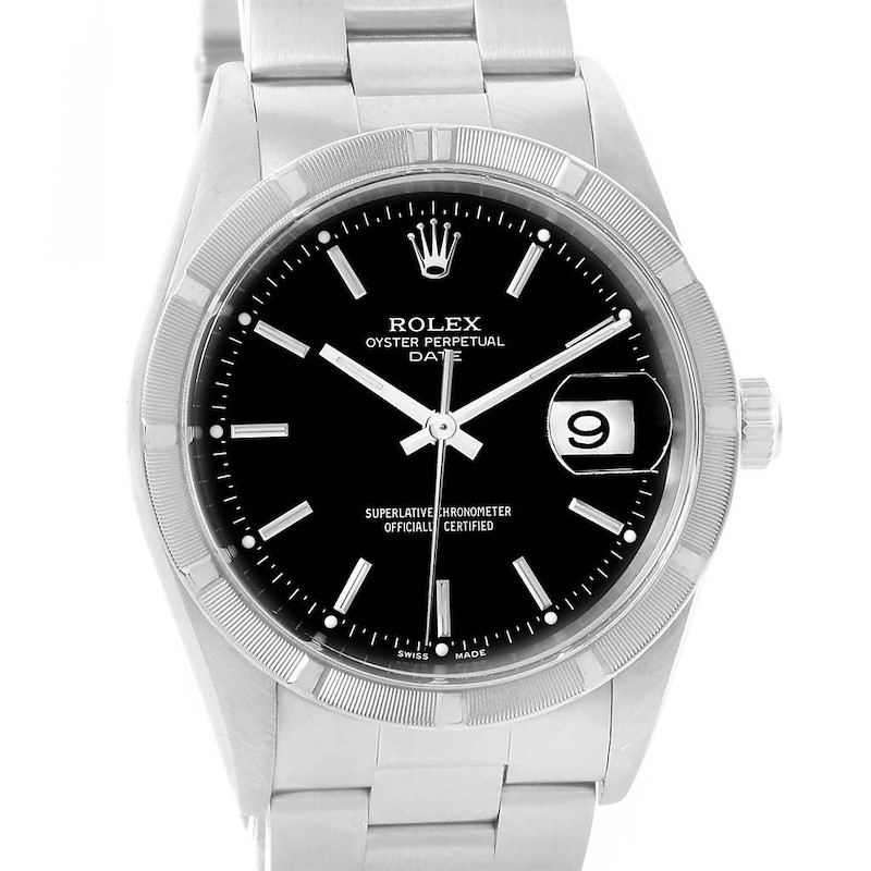 Rolex Date Stainless Steel Black Baton Dial Automatic Mens Watch 15210 SwissWatchExpo