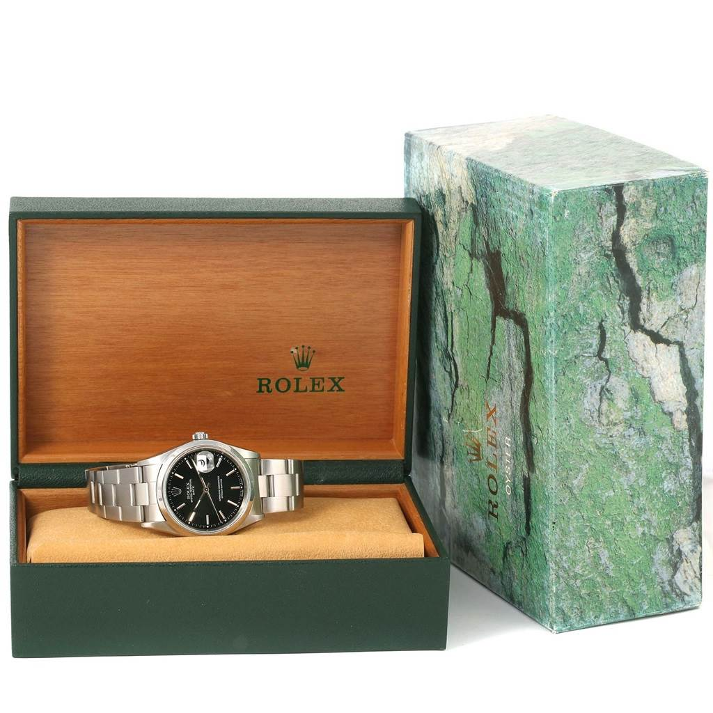 Rolex Date Black Baton Dial Stainless Steel Automatic Mens Watch 15200 SwissWatchExpo