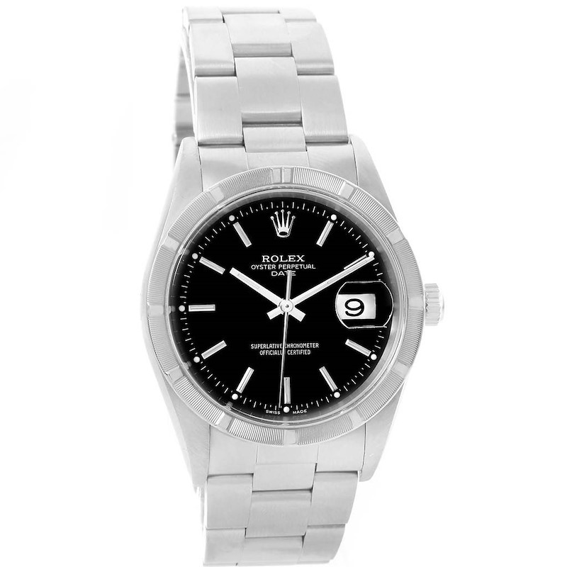 Rolex Date Black Dial Stainless Steel Mens Watch 15210 Box Papers SwissWatchExpo