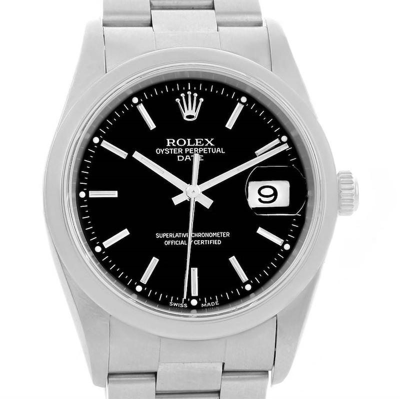 Rolex Date Black Baton Dial Oyster Bracelet Steel Mens Watch 15200 SwissWatchExpo