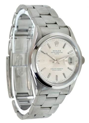 Rolex Mens Ss Oyster Perpetual Date Silver Stick 15200 SwissWatchExpo